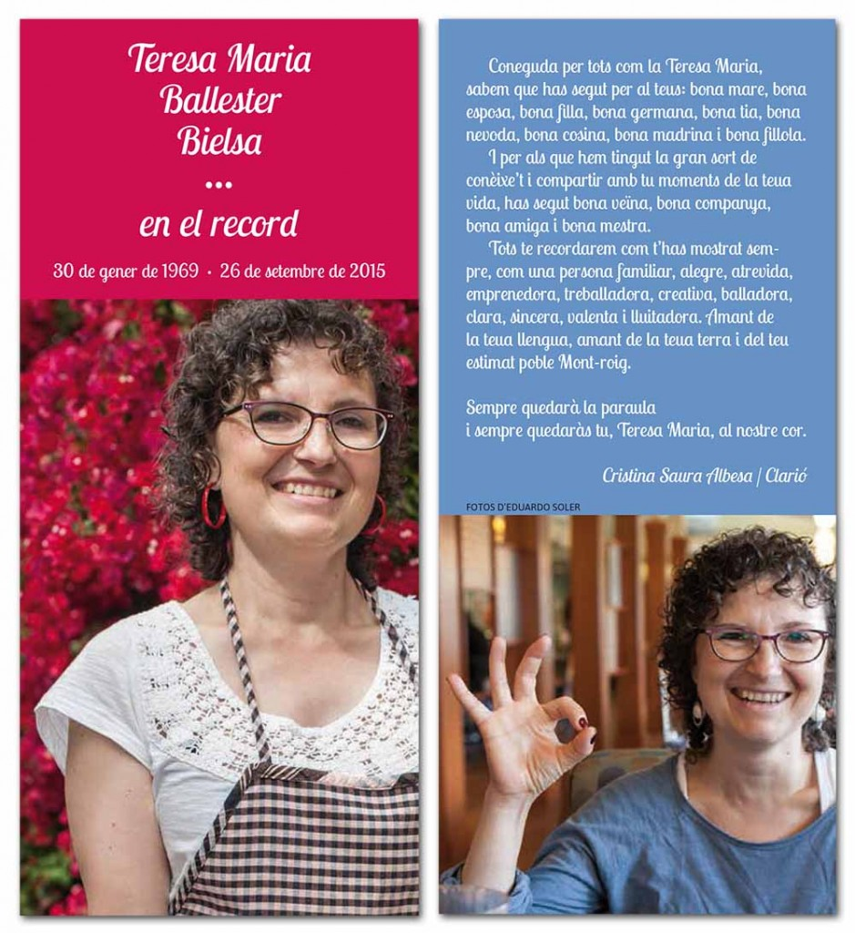 Recordatori amb text de la Cristina Saura i fotos d'Eduardo Soler