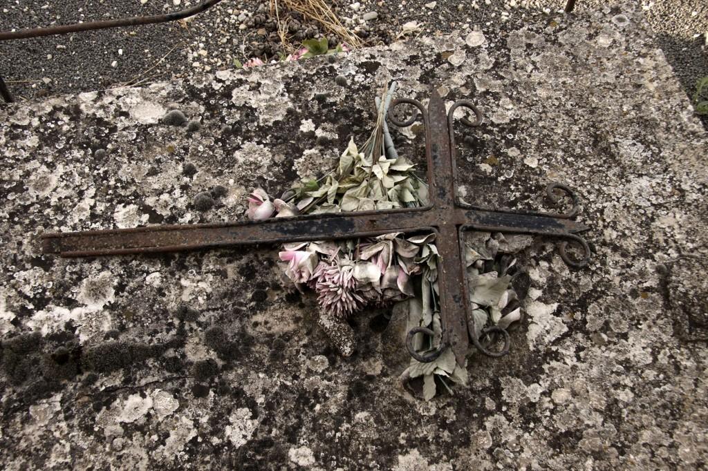 Flors artificials definitivament mortes (©Carles Terès, fossar d'Estopanyà, setembre 2015 )